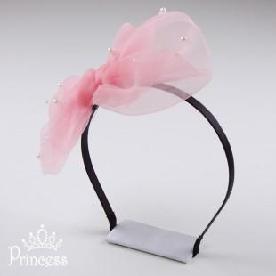 Фото: Обруч для волос с большим бантом и бусинами (артикул 1034-pink)
