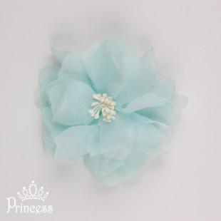 Фото: Объёмный цветок-заколка (артикул 1039-light mint) - изображение 2