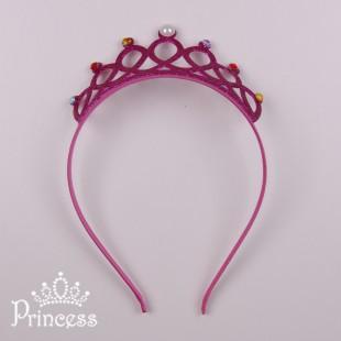 Детская корона-обруч в малиновом цвете