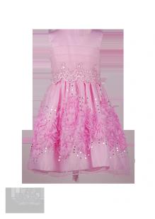 Нежно-розовое детское платье с объёмными цветами на юбке и отделкой из бисера и пайеток