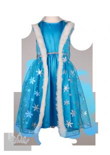 . Платье Холодное Сердце с накидкой и перчатками в снежинках