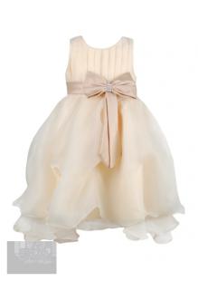 Фото: Бальное детское платье с поясом на талии (артикул 3020-beige)