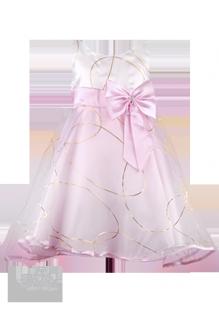 Фото: Розовое платье для девочки с золотыми кольцами  на юбке (артикул 3022-light pink) - изображение 2