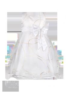 Фото: Белое платье с красивым узором для юной леди (артикул 3022-white) - изображение 2