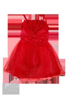 Бальное красное платье с бусинами и цветами