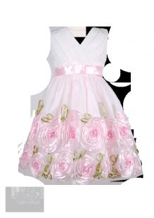 Фото: Праздничное платье на детский праздник с объёмными розами на юбке (артикул 3030-roses)