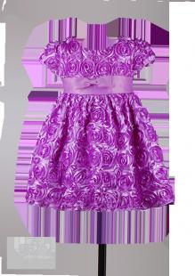 Фото: Фиолетовое детское платье из объемных роз (артикул 3032-violet)