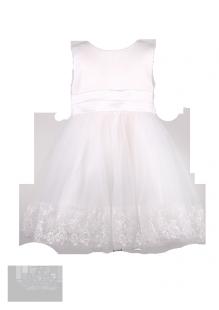 Праздничное детское платье с ажурной вышивкой на подоле