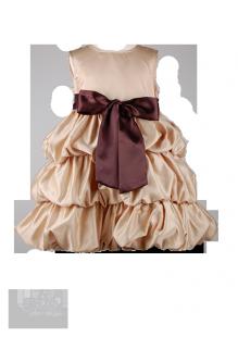 Фото: Детское платье золотистого цвета с контрастным бантом (артикул 3037-gold)