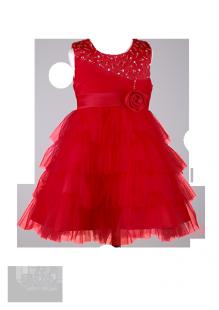 Фото: Красивое детское платье с бисером на лифе (артикул 3044-red)
