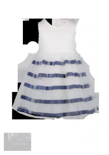 Фото: Изящное детское платье с темно-синими полосами на юбке (артикул 3045-white-deep blue) - изображение 2