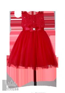 Фото: Красное  платье на выпускной в детский сад с кружевом на лифе (артикул 3050-red) - изображение 2