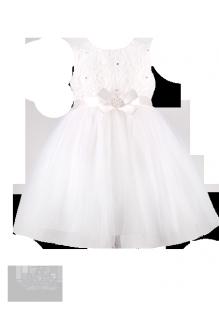 . Белоснежное платье для девочки с атласным бантом