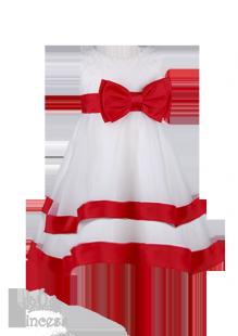 Фото: Детское платье с сердечками на лифе и красной каймой (артикул 3052-white-red) - изображение 2