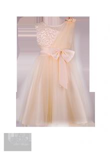 Фото: Красивое платье для девочки цвета миндального масла (артикул 3055-beige) - изображение 2