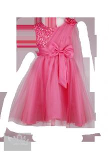 Фото: Оригинальное платье для девочки с шифоновым шлейфом на левом плече (артикул 3055-coral) - изображение 2