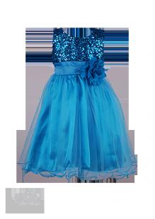 . Голубое нарядное платье для девочки с пайетками на лифе