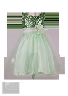 . Нежно-зеленое детское платье с лифом в пайетках