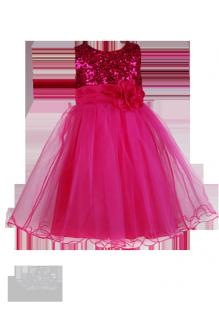 Яркое платье с цветком на талии для девочки