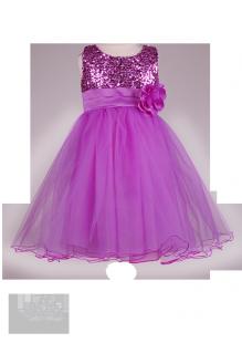 Сиреневое детское платье с пайетками и цветком
