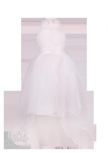 Фото: Белоснежное платье на детский утренник с воздушной юбкой и оригинальным бюстом (артикул 3084-white)