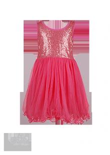 . Красивое коралловое платье для девочки с золотистыми пайетками на лифе