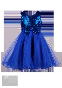 Фото: Платье с лифом в пайетках и бантиком (артикул 3087-blue) - изображение 2