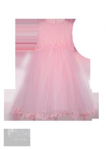 Нарядное детское платье нежного персикового цвета с ажурным лифом