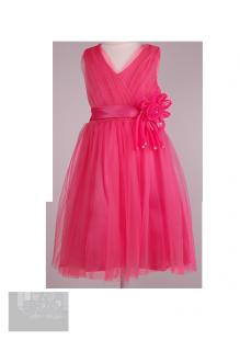 Нарядное воздушное платье для девочки кораллового цвета