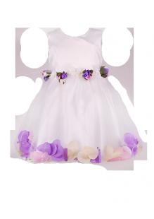 . Белоснежное платье для девочки с яркими цветами