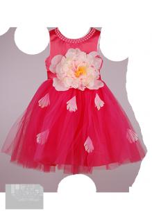 Фото: Красивое детское платье с крупным цветком на поясе (артикул 3096-coral) - изображение 2