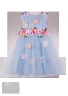. Нарядное платье для девочки с декором цветов на лифе и на юбке