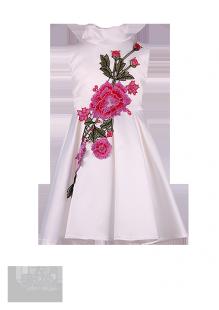 Фото: Белое платье для девочки из атласа со встречными складками (артикул 3101-white) - изображение 2