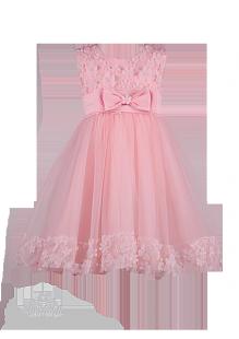 Персиковое платье с цветами на лифе и подоле