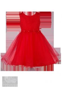 . Яркое детское платье с вышивкой и стразами