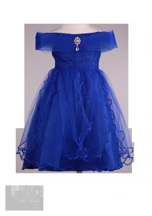 Детское праздничное синее платье с брошкой