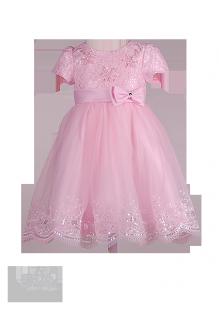 Нежно-розовое платье для девочки с бантиком на поясе