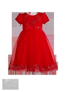 Праздничное детское платье красного цвета с вышивкой
