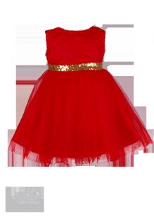 Детское платье красного цвета с кружевной спинкой