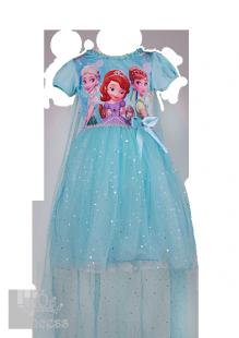 Голубое платье для девочки с изображением любимых принцесс