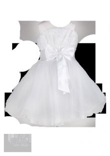 Фото: Белоснежное платье для маленькой принцессы на бретелях (артикул 3025-white) - изображение 2