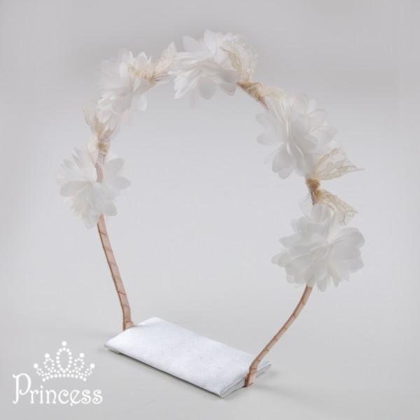 Фото: Обруч для волос с белыми цветами и кружевом (артикул 1027-white)