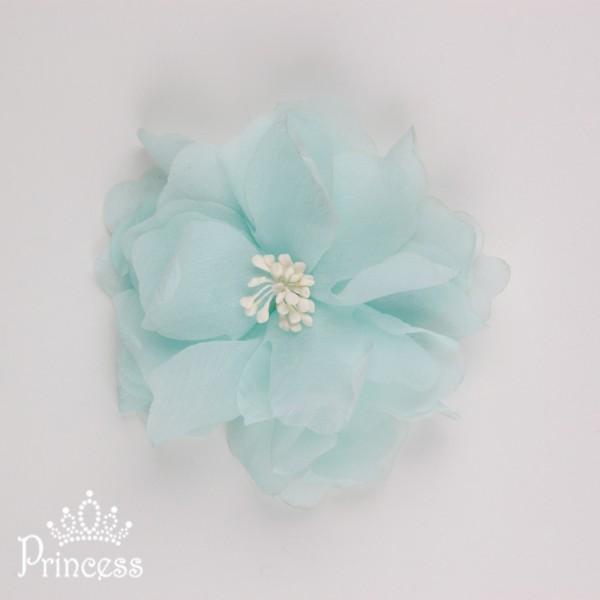 Фото: Объёмный цветок-заколка (артикул 1039-light mint)