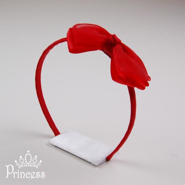 Фото: Ободок для волос с красным бантом (артикул 1041-red)