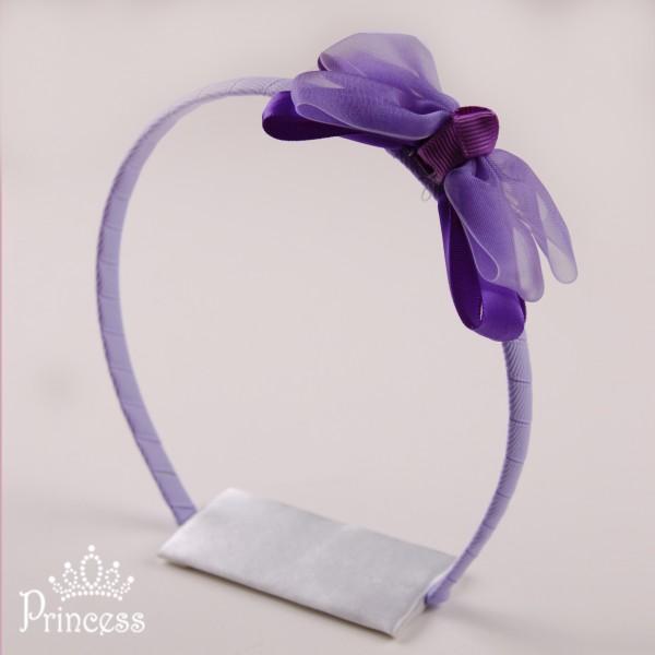 Фото: Обруч с двойным бантиком из лент (артикул 1043-violet )