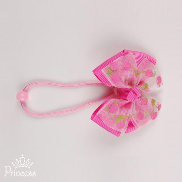 Фото: Резинка для волос с принтом вишенки (артикул 1048-pink)