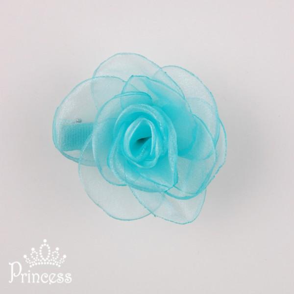 Фото: Заколка-роза из шифона (артикул 1056-green)
