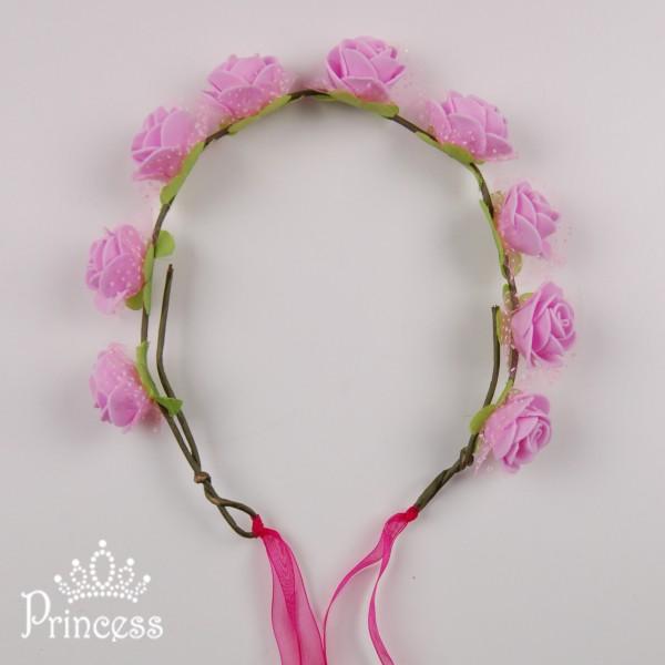 Фото: Ободок из розочек с лепестками (артикул 1057-pink)