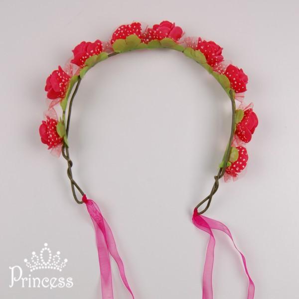 Фото: Яркий ободок с розами и лентой (артикул 1057-red )