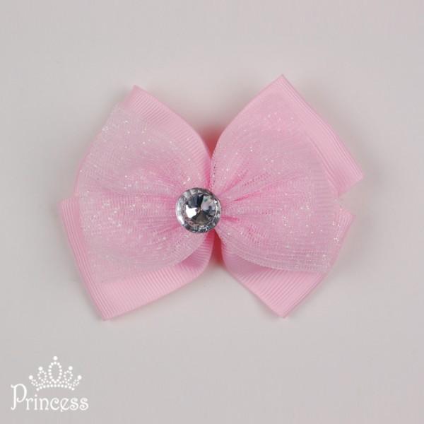 Фото: Заколка с блестящим бантом (артикул 1061-light pink)